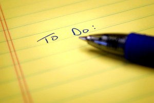 To do list written on paper with blue pen